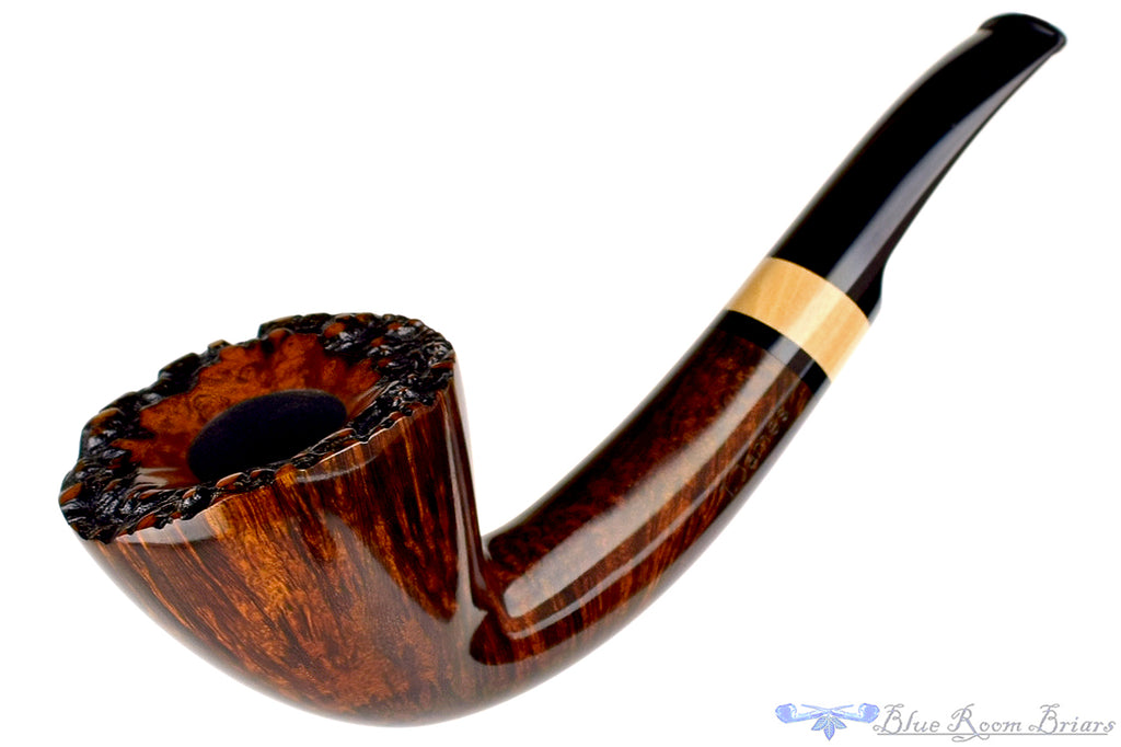 Blue Room Briars is proud to present this Thomas James Pipe Half Saddle Dublin with French Boxwood and Briar Stand