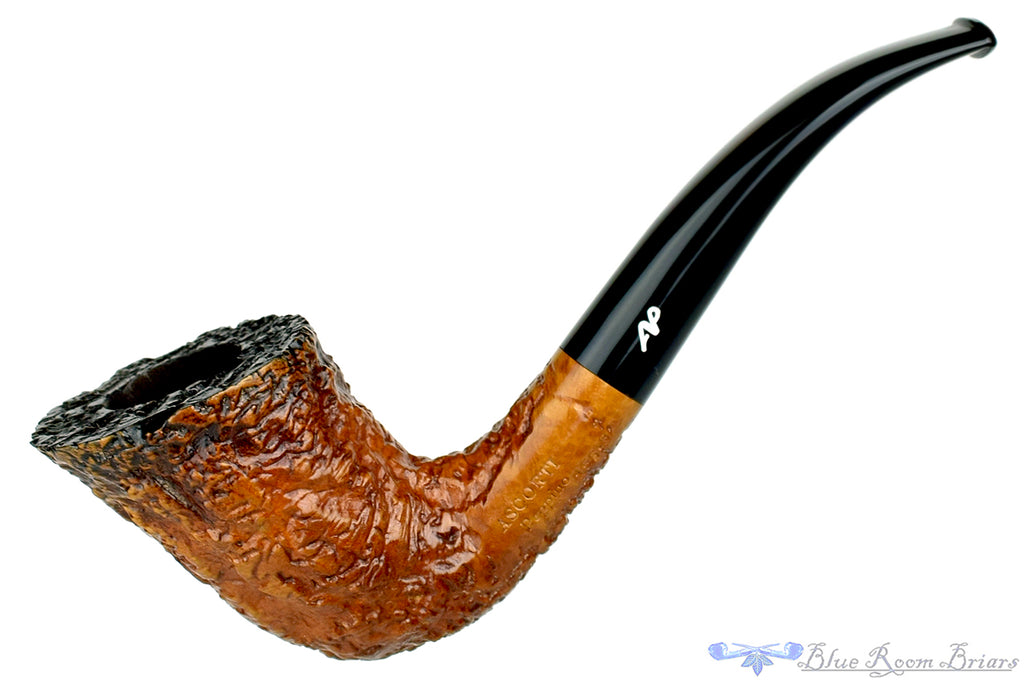 Blue Room Briars is proud to present this Ascorti Peppino 156 B 1/4 Bent Rusticated Horn with Fumed Top Estate Pipe