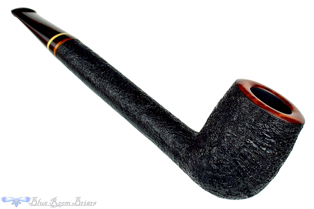 Blue Room Briars is proud to present this Jerry Crawford Pipe Black Blast Canadian with Ox Horn and Brindle