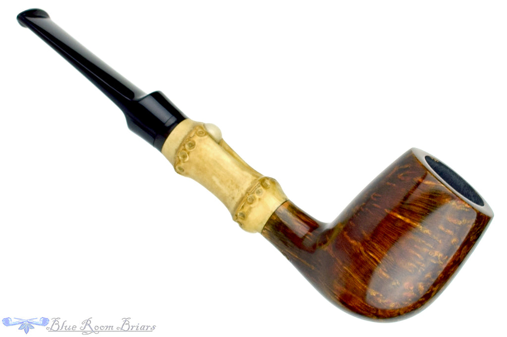 Blue Room Briars is proud to present this George Boyadjiev Pipe 111 B Grade Billiard with Bamboo