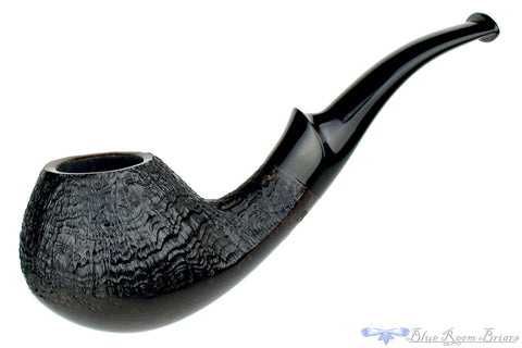 Nate King Pipe 520 Black Blast Dancing Pear with Titanium Ring