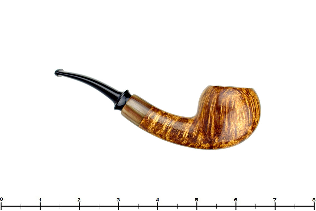 Blue Room Briars is proud to present this Jerry Crawford Pipe Tiger Striped Danish Apple with Asian Ox Horn