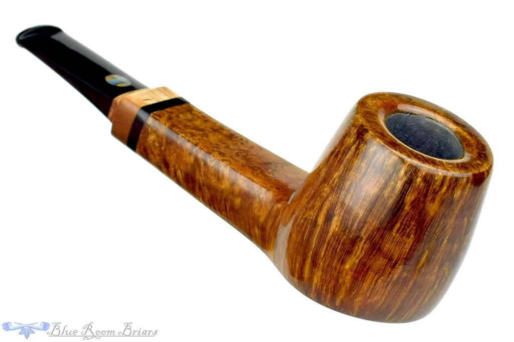 Blue Room Briars is proud to present this Steve Morrisette Pipe Panel Shank Billiard Sitter with Tiger Maple and Mother of Pearl