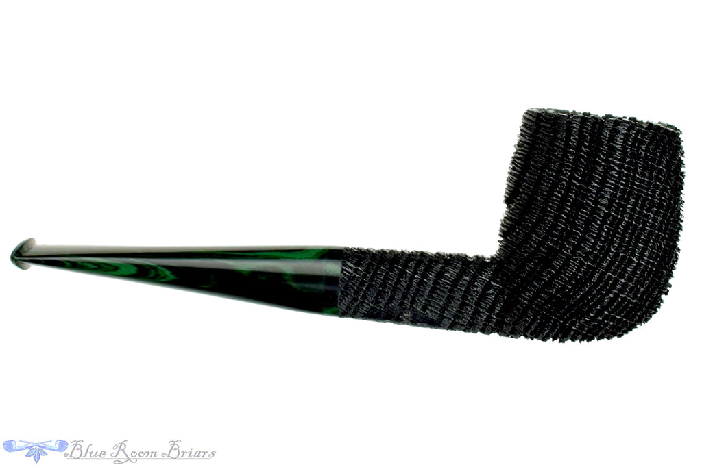 Blue Room Briars is proud to present this Jesse Jones Pipe 2219 Sandblast Morta Billiard with Green Brindle