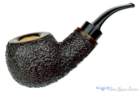 Dr. Bob Pipe Black Carved Hawkbill with Ivorite Insert and Brindle