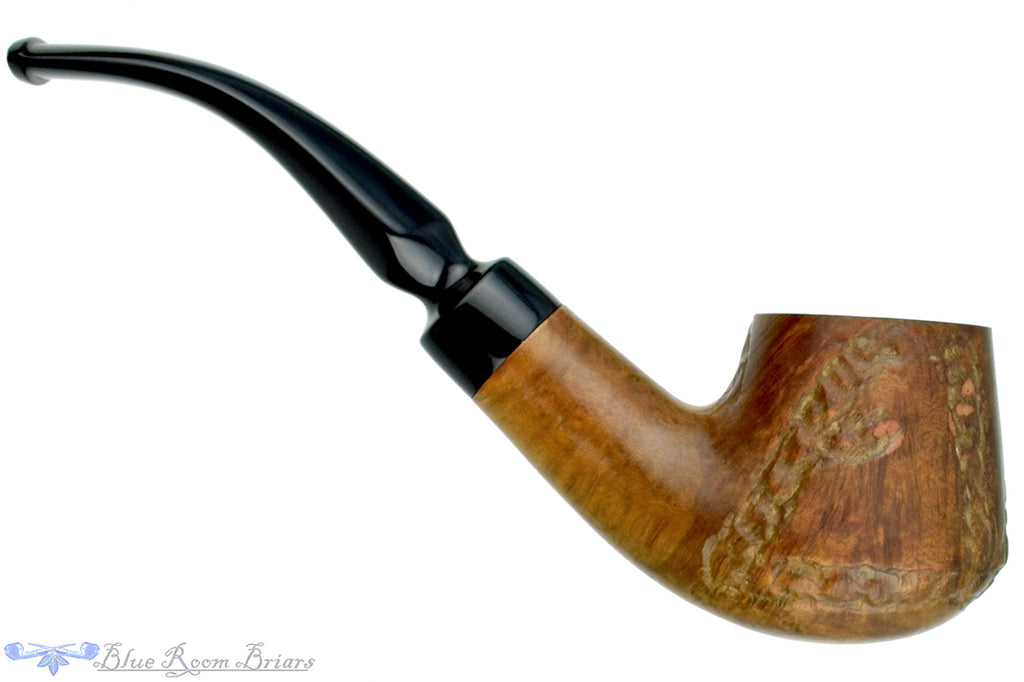 Blue Room Briars is proud to present this Santini 1/2 Bent Partial Carved Brandy Estate Pipe