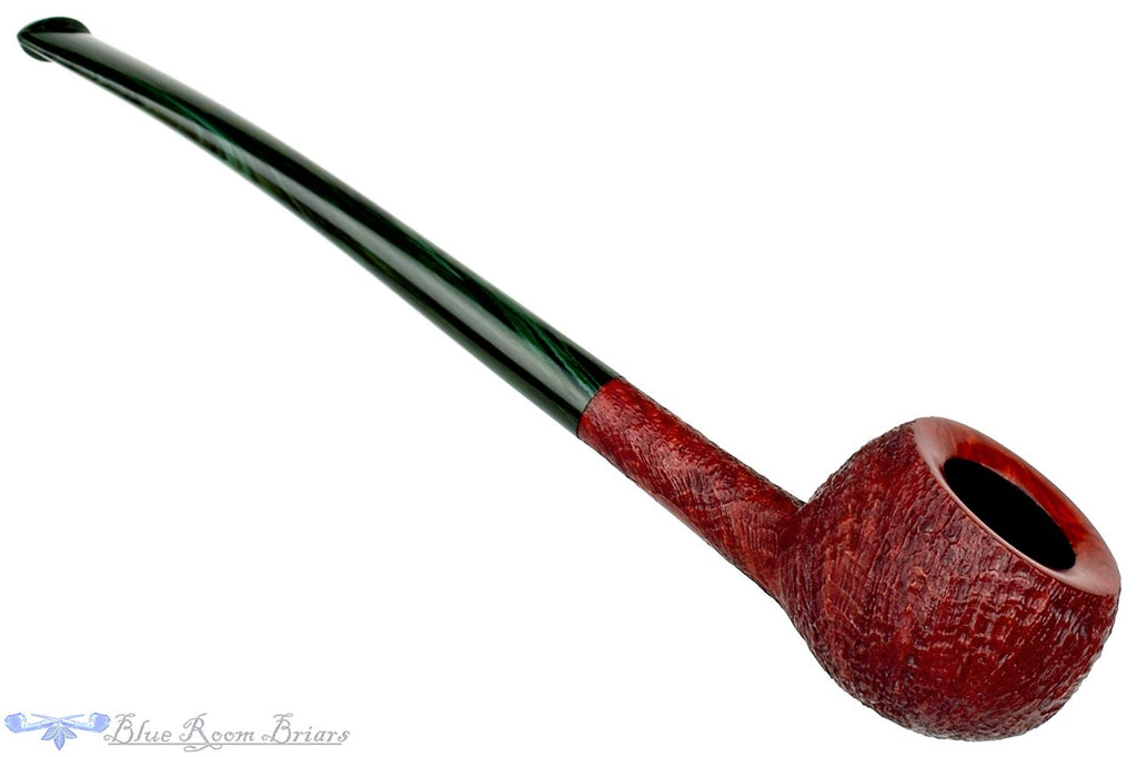 "Blue Room Briars is Proud to Present this Scottie Piersel Pipe ""Scottie"" Sandblast Prince with Green Brindle Stem"