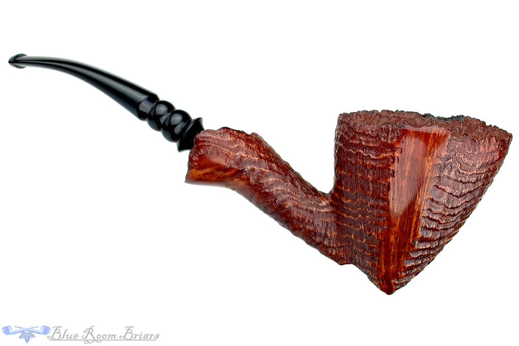 Blue Room Briars is proud to present this Nording Handcrafted 1/2 Bent Ring Blast Freehand with Plateaux Unsmoked Estate Pipe