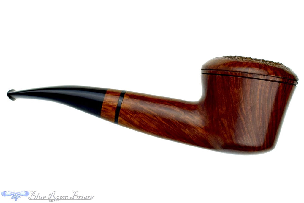 Blue Room Briars is proud to present this Luigi Viprati 5 Clover 1/4 Bent Partially Rusticated Rhodesian Estate Pipe