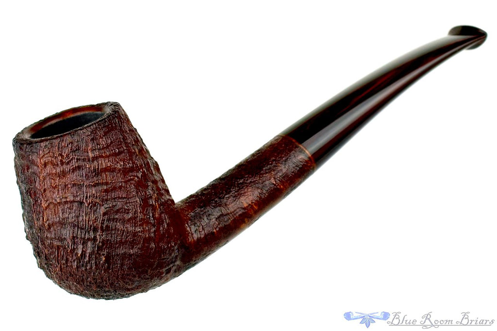 Blue Room Briar is proud to present this Jesse Jones Pipe 2319 1/4 Bent Sandblast Oval Shank Brandy with Brindle