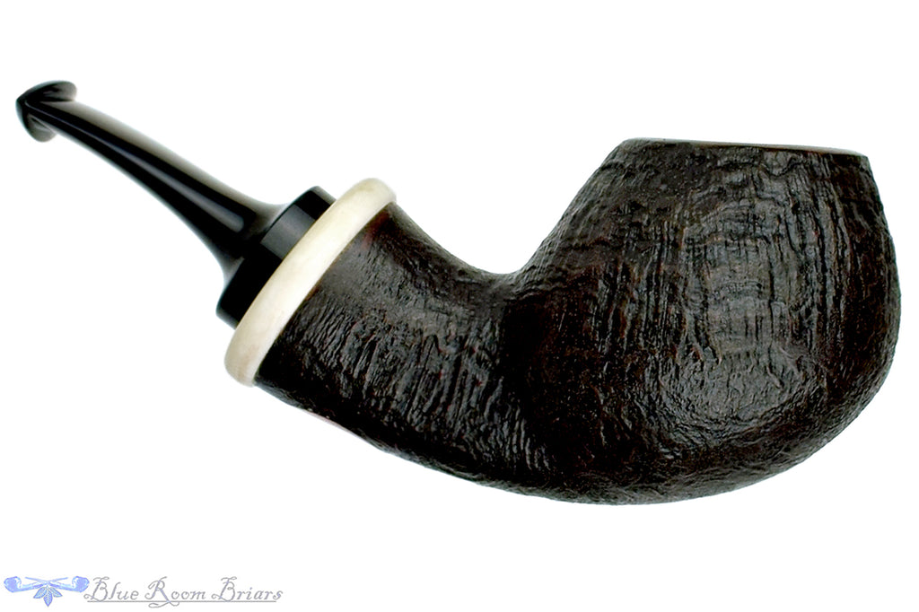 Blue Room Briars is Proud to Present this Dirk Heinemann Pipe 1/2 Bent Sandblast Tomato with Faux Ivory Accent