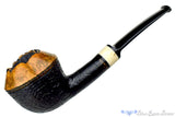 Blue Room Briars is Proud to Present this Charl Goussard Pipe 1/4 Bent Partial Sandblast Rhodesian with Faux Ivory and Plateau