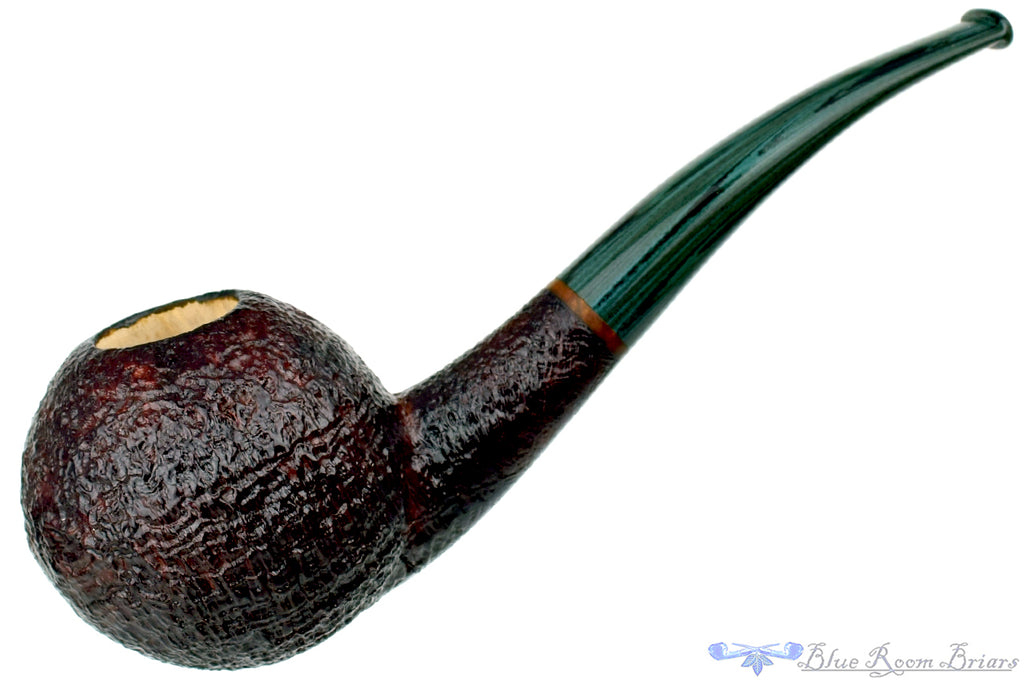 Blue Room Briars is proud to present this Todd Harris Pipe 1/4 Bent Sandblast Tomato with Jade Brindle