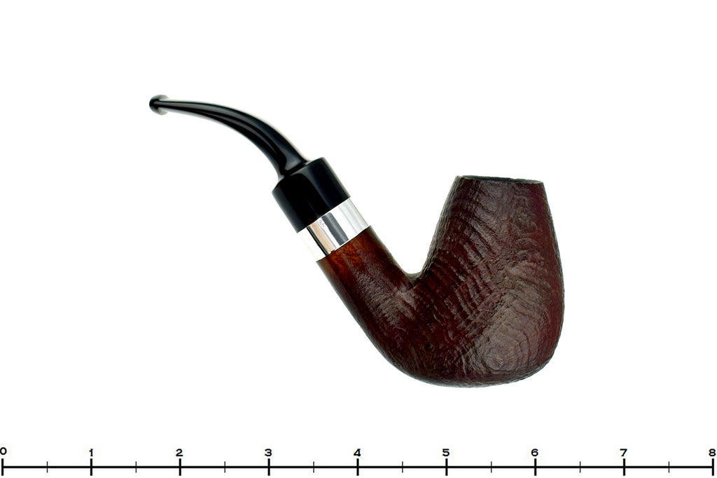 Blue Room Briars is proud to present this Hilson New Horizon 301 3/4 Bent Sandblast Egg (9mm Filter) with Silver Estate Pipe