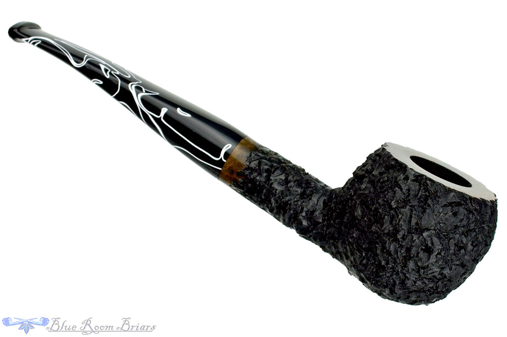 Blue Room Briars is proud to present this Lannes Johnson 1/8 Bent Rusticated Apple Estate Pipe