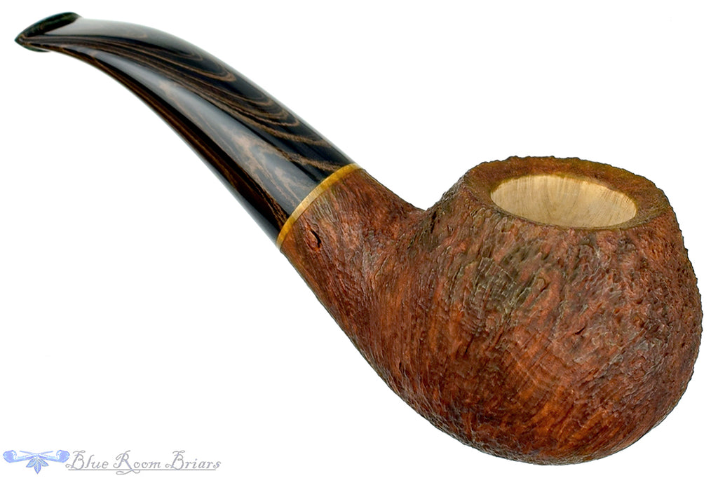 Blue Room Briars is proud to present this Ron Powell Pipe Sandblast Author with Bronze Brindle Stem
