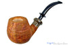 Blue Room Briars is proud to present this Ron Powell Pipe 1/4 Bent Tan Blast Brandy with Sand Brindle Ebonite Ferrule