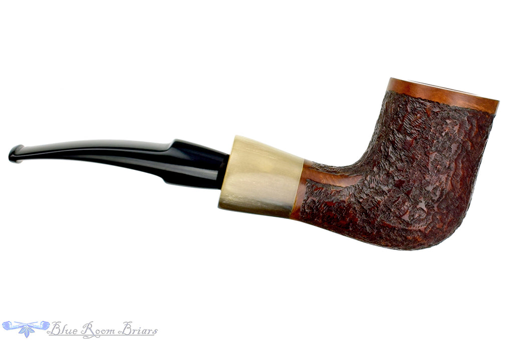 Blue Room Briars is proud to present this Julius Vesz Hand Cut (2000 Make) Carved Chimney Sitter with Horn Estate Pipe
