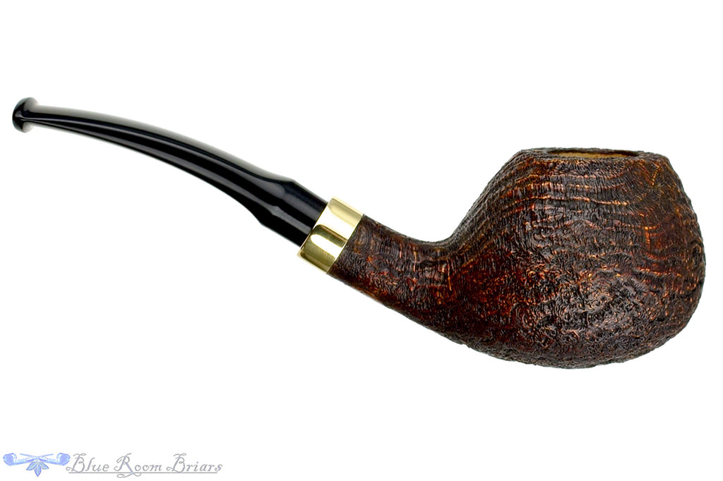 Blue Room Briars is proud to present this Doug Finlay Pipe 1/4 Bent Sandblast Tomato with Brass and Military Mount
