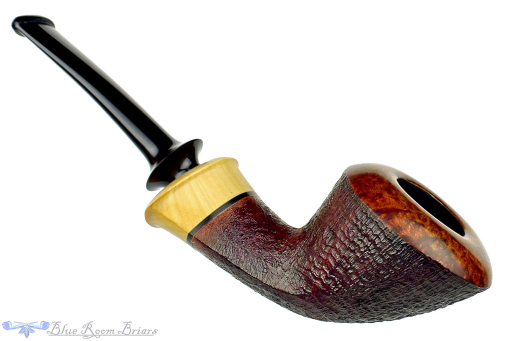 Blue Room Briars is proud to present this Michail Kyriazanos Pipe Partial Sandblast Dublin with Teardrop Shank and Boxwood