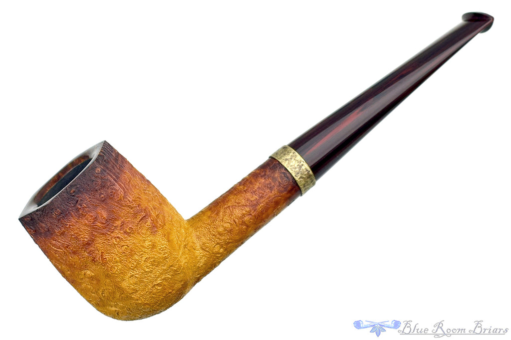 Blue Room Briars is proud to present this Jesse Jones Pipe 2220 Fumed Panel Billiard with Brindle and Hammered Brass