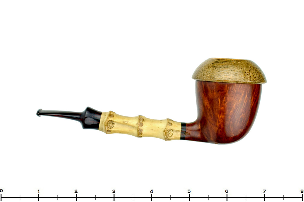 Blue Room Briars is proud to present this Sergey Cherepanov Pipe 1/8 Bent Bamboo Briar Calabash with Brindle