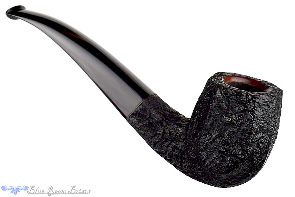Jesse Jones Pipe 1/2 Bent Black Blast Panelled Four Square, Blue Room Briars, black blast, blackblast, sandblast, sandblasted, sand blast, panel, taper, tapered stem, black stem, rounded rim, bevel, bevelled, Jesse, ohio, usa, us, united states, made in the usa, heirloom, artisan pipe, new pipe, new, smoking hobby, ebonite, vulcanite, pipe stem, pipe mortise, stem, mortise, button, draft hole, grain, hand made, handmade, hand-made, hand crafted, handcrafted, hand-crafted, high grade, high-grade, highgrade, hand carved, hand-carved, handcarved, hand cut, handcut, hand-cut