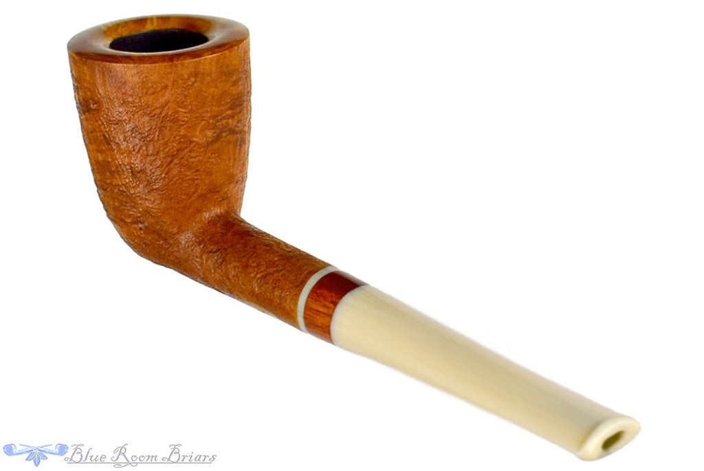 Jesse Jones Pipe Tan Blast Dublin with Blood Wood, Blue Room Briars, tanblast, sandblast, sand blast, sandblasted, smooth rim, blonde, straight, acrylic stem, ecrue stem, white stem, ohio, united states, made in the usa, usa, american, america, taper, tapered stem, artisan pipe, new pipe, new, smoking hobby, ebonite, vulcanite, pipe stem, pipe mortise, stem, mortise, button, draft hole, grain, hand made, handmade, hand-made, hand crafted, handcrafted, hand-crafted, high grade, high-grade, highgrade, hand carved, hand-carved, handcarved, hand cut, handcut, hand-cut