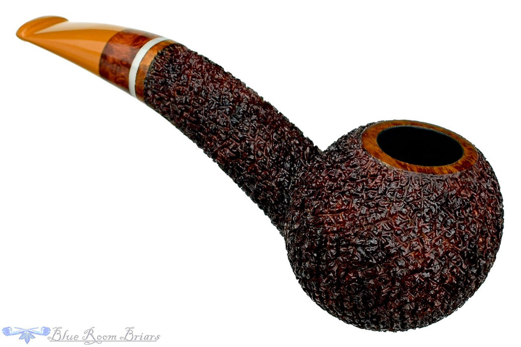 Blue Room Briars is Proud to Present this Dr. Bob Pipe Rusticated Hawkbill with Wood and Acrylic Insert