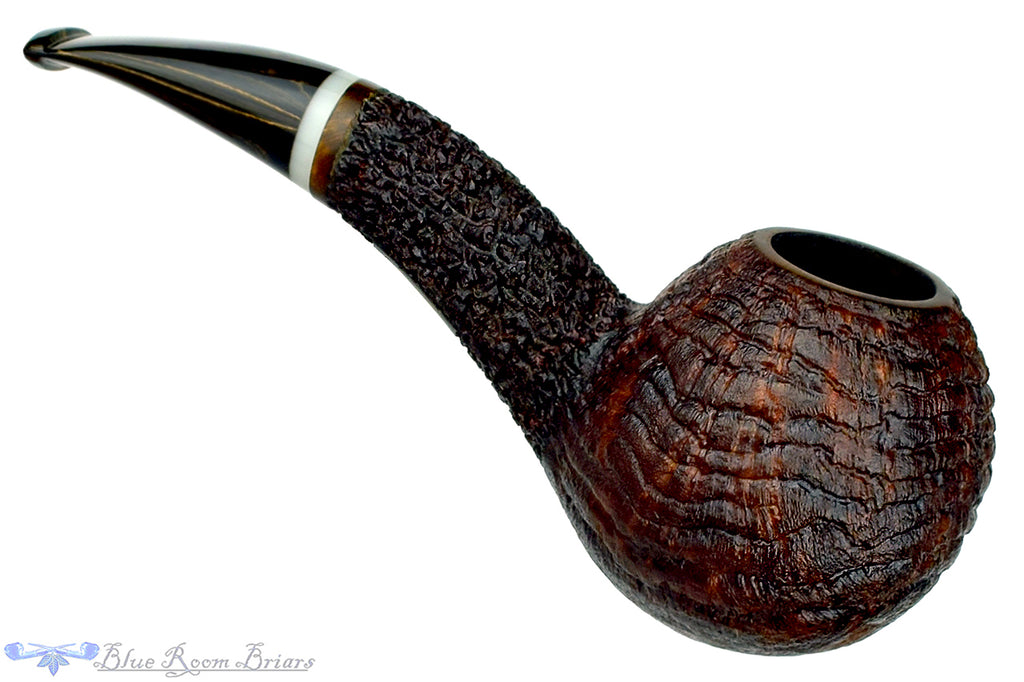 Blue Room Briars is Proud to Present this Dr. Bob Pipe Partial Sandblast Hawkbill with Acrylic Insert