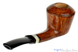 Blue Room Briars, Charl Goussard Pipe 1/8 Bent Bulldog with Kudu Horn, smooth pipe, straight grain, kudo horn, saddle, saddled stem pipe, south african, south africa, bulldog, faceted shank, artisan