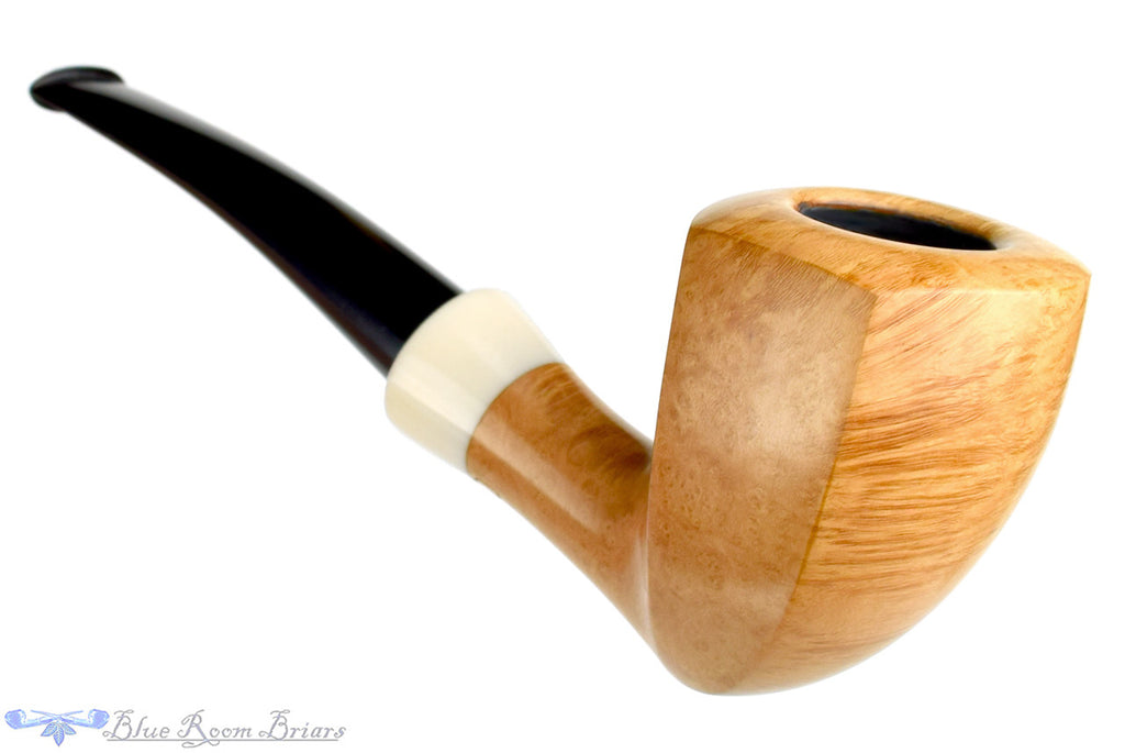 Blue Room Briars, Charl Goussard Pipe 1/8 Bent Pale Elephant's Foot with Acrylic, smooth, pale, perfect, taper, tapered stem, black stem, south africa, south african, natural finish