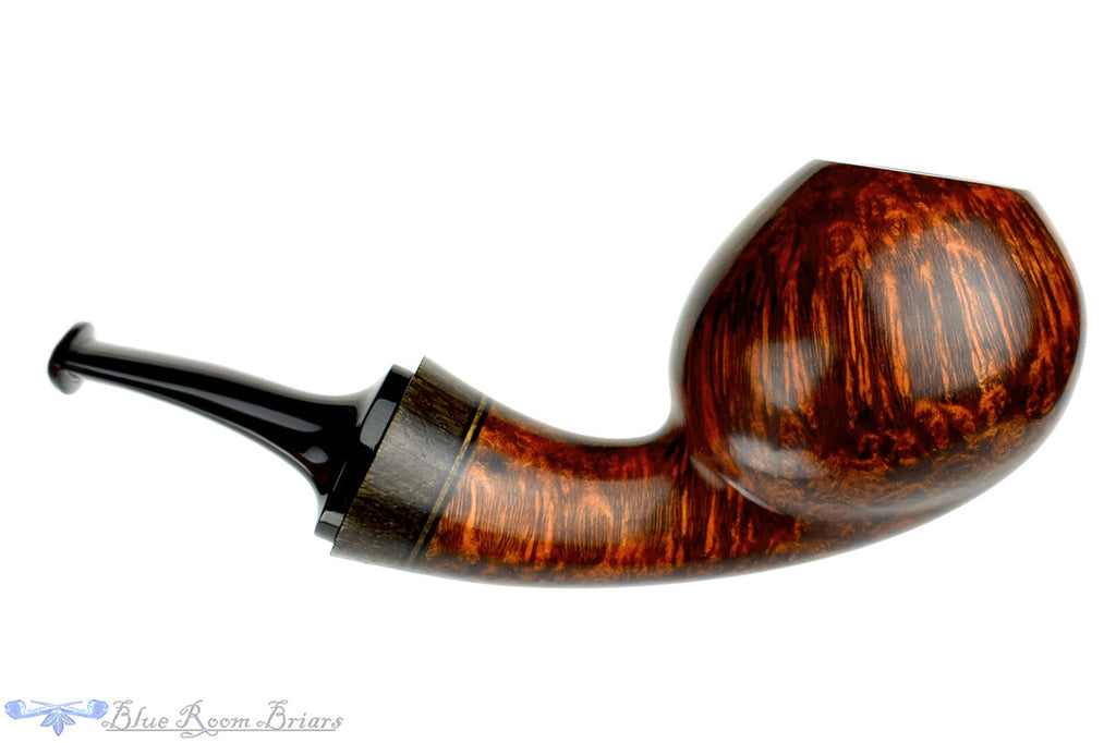 Blue Room Briars, Dirk Heinemann Pipe Smooth Danish Egg with Teardrop Shank, smooth, artisan pipe, handmade, bespoke pipe, straight grain, red finish, wood adornment, german, germany, danish,