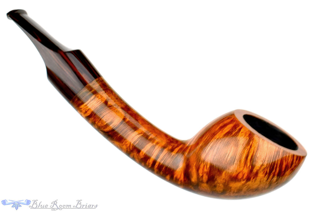 Blue Room Briars is proud to present this Benjamin Westerheide Pipe 1/8 Bent Tiger Striped Scoop
