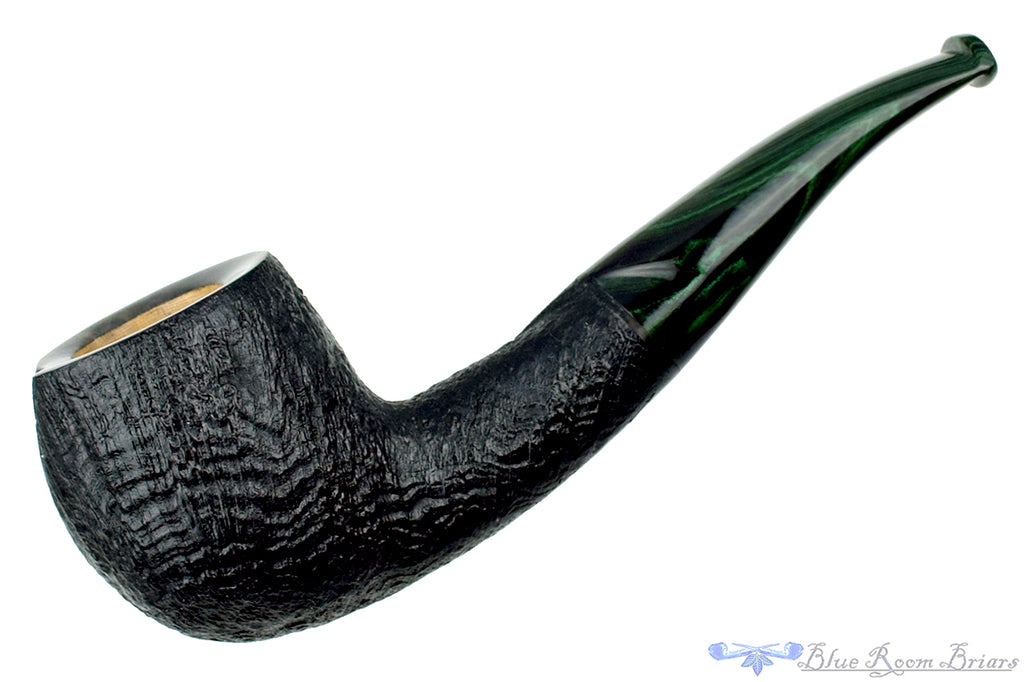 Blue Room Briars is proud to present this Colin Rigsby Pipe 1/4 Bent Black Blast Twisted Apple with Brindle