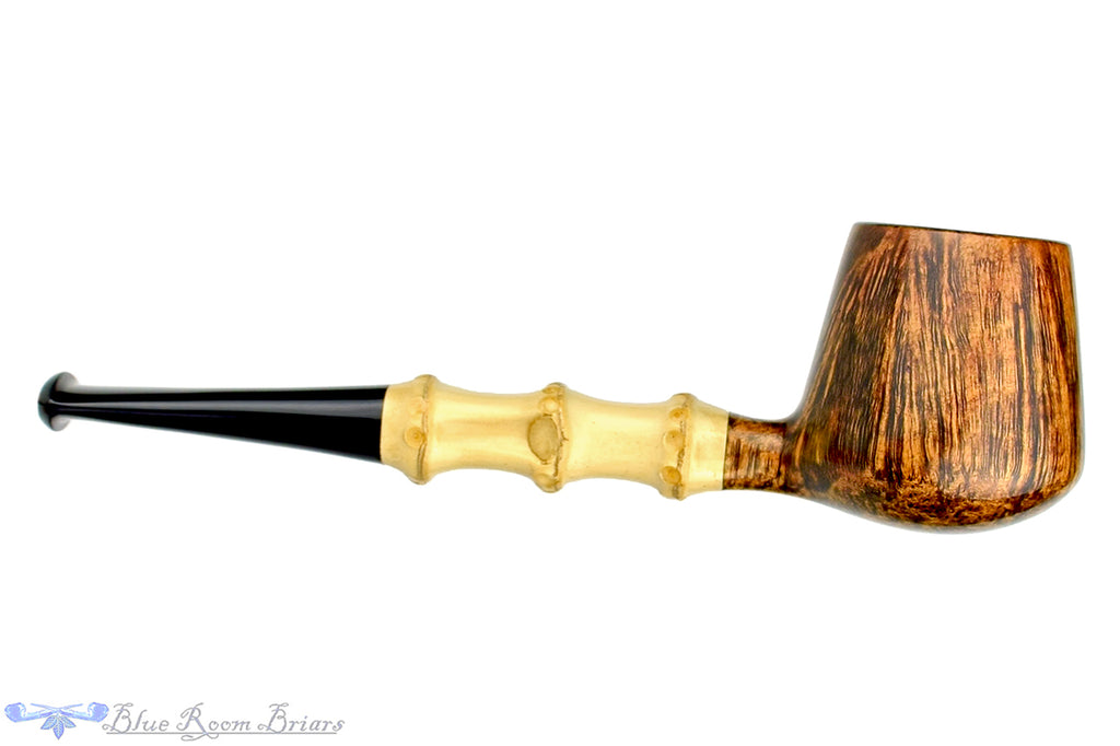Blue Room Briars is proud to present this David S. Huber Pipe Featherweight Brandy with Bamboo