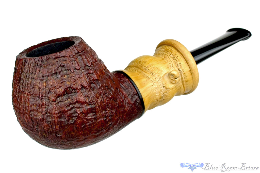 Blue Room Briars is proud to present this Michail Kyriazanos Pipe Sandblast Brandy with Buddha Bamboo and Boxwood