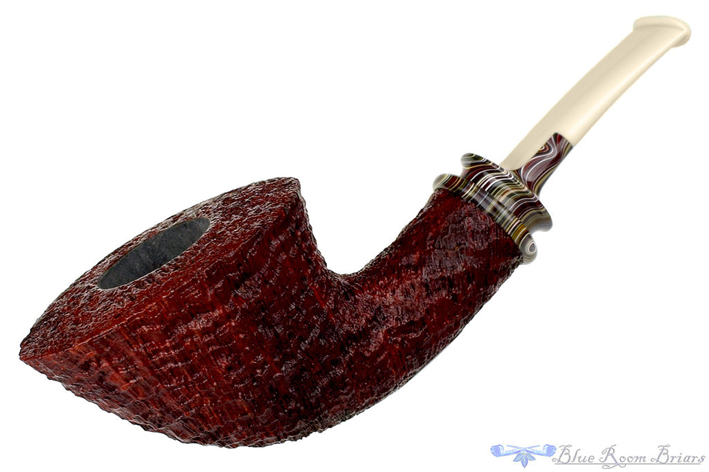 Bill Shalosky Pipe 336 Ring Blast Dublin with Fordite and Split Stem