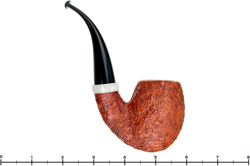 Blue Room Briars is proud to present this Nate King Pipe 603 Mid-Contrast Sandblast Reverse Calabash Royal Egg with Bakelite