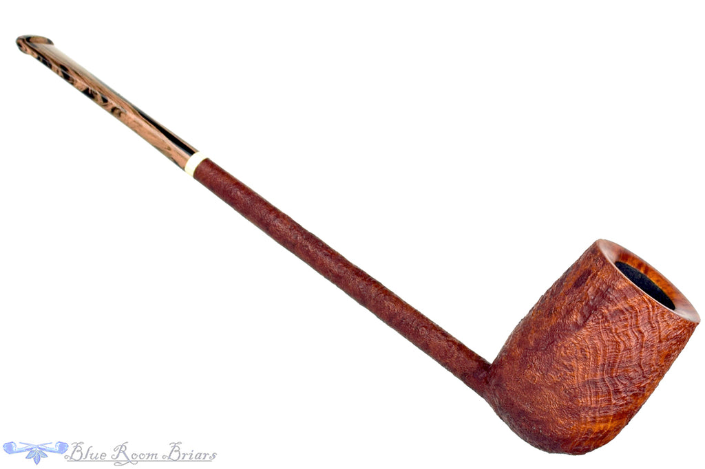 "Blue Room Briars is proud to present this Scottie Piersel Pipe ""Scottie"" Sandblast Extra Long Pencil Shank Billiard with Faux Ivory Accent"