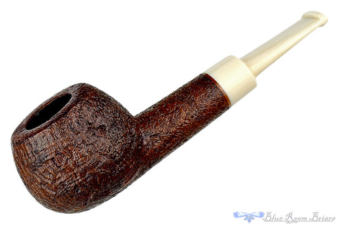 Jerry Crawford Pipe 1/4 Bent Mahogany Blast Egg with Smooth Shank Cap