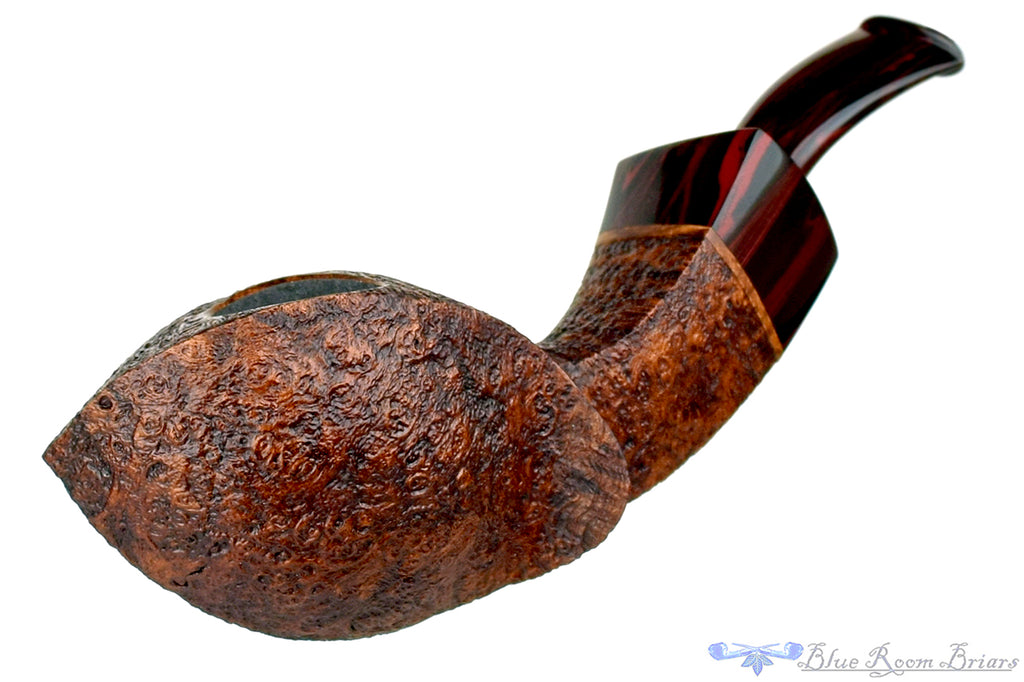 Blue Room Briars is proud to present this Bill Shalosky Pipe 425 Sandblast Twisted Blowfish with Brindle