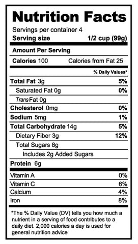 Maple Cinnamon Nutrition Panel