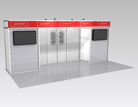 Used 10x20 Exhibit With Slatwall & Two Storage Closets/Changing Rooms
