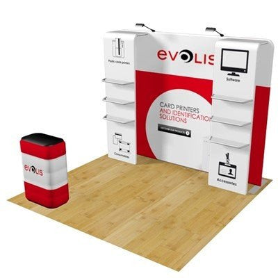 10' Tension Fabric Exhibit With Stand Off Shelves