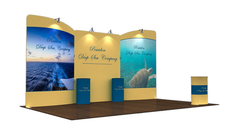 20' Tension Fabric Display With Slanted Side Frames