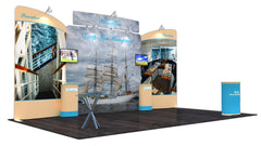 20' Tension Fabric Display With Elevated Header And Monitor Mounts