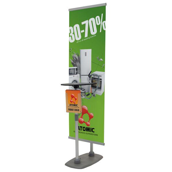 Banner Stand With Counter and Literature Holder