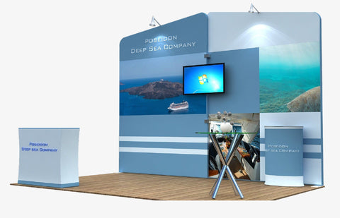 Tension Fabric Display With Overlapping Frames and Monitor Mount