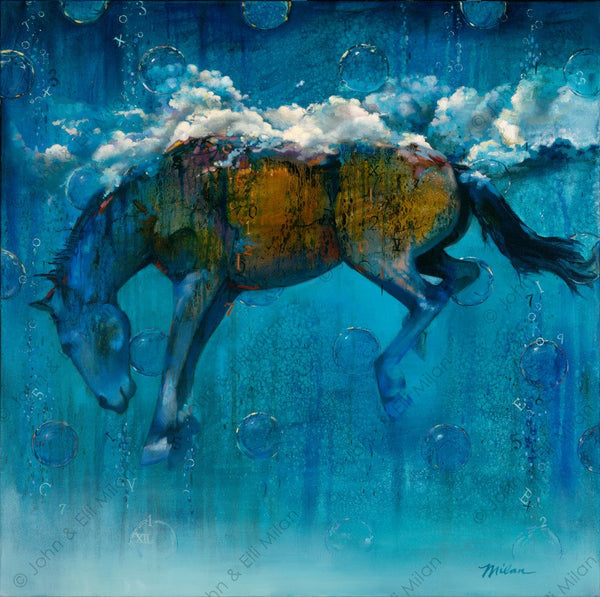 abstract horse oil painting - mixed media